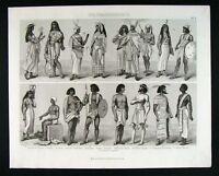 1874 Bilder Print Ancient Egypt - Egyptian Dress Costume People Culture Ethnic