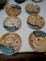 Set of 6 Made in Japan Lusterware Saucers Hand Painted Pagoda Birds flowers lot