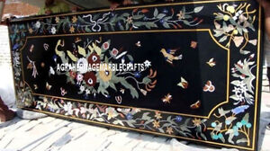 Black Marble Dining Table Rare Gems Inlay Dining Room Home Marquetry Arts H3333