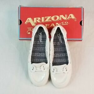 Glam Lacy White Sequined Arizona Jean Company Women's Shoes Moccasin Size 8M NIB