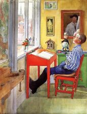 Oil painting Carl Larsson - Young boy Esbjorn Doing his Homework in room canvas