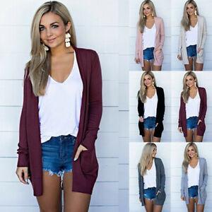 Women Long Sleeve Knit Cardigan Open Front Draped Sweater Tunic Loose Blouse Top
