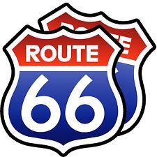 ROUTE 66 Main Street Classic Retro Car Motorhome Caravan Stickers Pack of 2