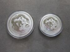 """2012 $1 (1oz) 50 cents (1/2 oz) """"Year of the Dragon""""  Coin - Lunar Series II"""