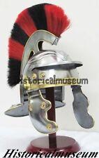 Medieval Roman Centurion Helmet Knight Armor Costume inner Red Black Plume AKFV5