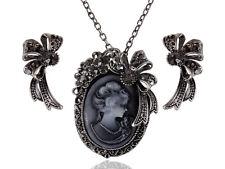 Womens Gunmetal Tone Black Vintage Victorian Cameo Lady Ribbon Necklace Earrings