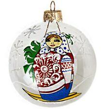 "3.1"" Clear Christmas Glass Ball Ornament w/ Russian Doll Matryoshka Tree Decor"