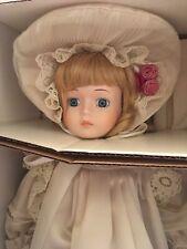 "Royal Heirloom Beautiful Blonde ""Paige� Porcelain Doll Nib W/ Coa & Stand"