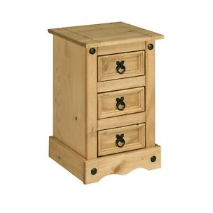 Corona Pine Bedside Cabinet 3 Drawer Side Table Bedroom Drawers Chest Nightstand