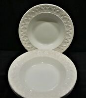 Pier1 Ceramica Quadrifoglio Made in Italy Basket Relief White Soup Bowls x4