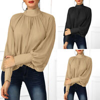Women Solid Casual Blouse Shirt Plus Size Long Sleeve Crew Neck Polyester Tops