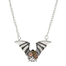 Fashion Steampunk Gear Bat Pendant Chain Necklace Women Men Gothic Jewelry