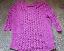 Ladies 'UNBRANDED' Pink net effect long sleeve Jumper. Size 16. vgc.