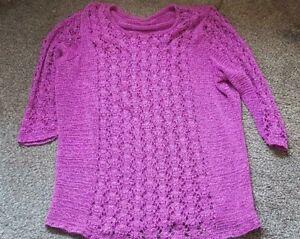 Ladies 'UNBRANDED' Pink net effect long sleeve Jumper. Size 16. vgc.