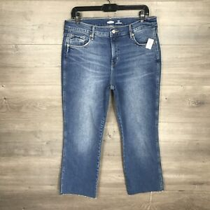 "Old Navy Women's Size 12 High Rise Crop Flare Jeans Medium Wash 25"" Inseam NEW"