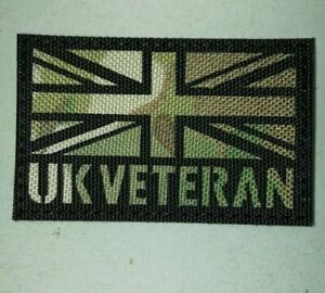 UK Forces Veteran Camo (MTP Style) Flag Patch, 8cm x 5cm - Hook and Loop backing