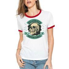 Vintage skull Funny T-Shirt Womens Cotton Short Sleeve Halloween Tee Tops