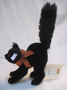 STEIFF ARCHED BACK BLACK CAT HALLOWEEN W/ BUTTON, TAG & BOW VERY RARE LIMIT ED.