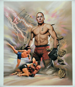 Georges St-Pierre GSP - UFC Autographed - Hand Signed 15X18 inches UFC Canvas