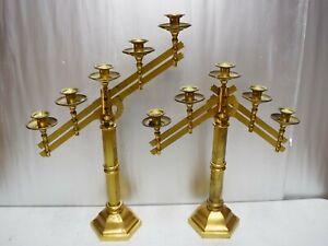 """Older Pair Brass Church Altar Candelabra 5 Light Candlestick 19"""" ht. (CU424)"""
