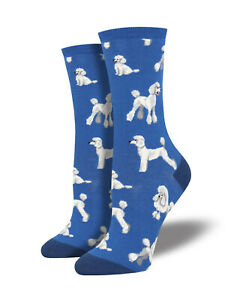 Poodle Dog Socks - Blue  SockSmith Cotton Womens One Size fits Most
