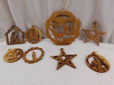 Vintage Handmade Wood Christmas Ornaments Montana Deer Angles Baby Jesus Stars