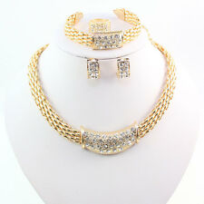 Fashion Women 18K Gold/Silver Plated Crystal Necklace Bracelet Jewelry Set