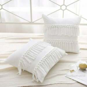 Cotton Fringes Tassels Throw Boho Cushion Cover Pack of 2 for Bed Couch Pillow