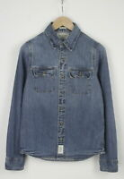ABERCROMBIE & FITCH MUSCLE Men's SMALL Fade Effect Spread Denim Shirt 24281-JS