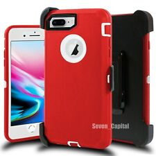 For iPhone 6 6s 7 8 Plus Shockproof Defender Case Belt Clip + Screen Protector