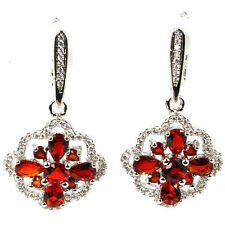 Hi End  Blood Ruby Gemstone Drop Earrings & White  CZ Weimaraner Rescue