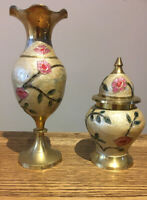 Vintage Brass/Enamel Vases. Brass Floral. Pink And Red Flowers