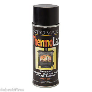 Stovax Thermolac 400ml High Temp Black Paint for Stoves, Cast, Grate BBQ, - FP03