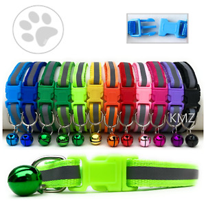 Reflective Cat Small Dog Collar Easy Adjustable Collar D-Ring for Pet ID Hi-Vis
