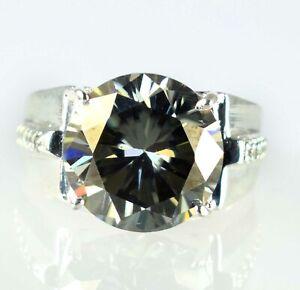 Huge & Rare 12.43 Ct Chocolate Brown Diamond Solitaire Men's Genuine Silver Ring