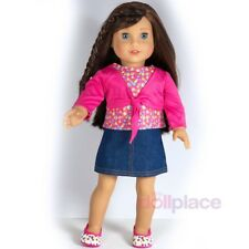 "3pc Outfit Pink Top Skirt Shoes Set for 18"" American Girl 18 Inch Doll Clothes"