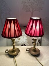 Pair Laura Ashley Table Lamps with Cranberry  Shades Brass bulbs included