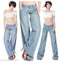 2019 New Light Blue Womens Cotton Wide Leg Flares Jeans Pants Plus Sexy Elegant