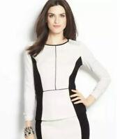 Ann Taylor White Black Color Block Long Sleeve Career Top Sz L