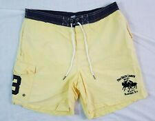 POLO RALPH LAUREN Mens Swimsuit Trunks LARGE Yellow Vintage Bleecker Street #3