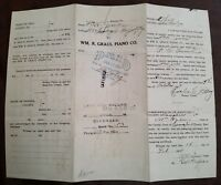 WM. R. GRAUL PIANO CO NEWPORT KY ORIGINAL VINTAGE 1924 PLAYER PIANO NOTE RECEIPT