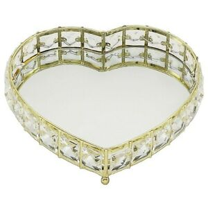 Gold Colour Heart Shaped Crystal Jewel Mirror Candle Trinket Tray 23 x 26 x 3cms
