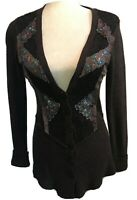 Free People Brown Sequin Silk Lace Embellished Cardigan Button Sweater Small