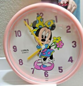 "Vintage Disney Minnie Mouse Lorus Quartz Wall Clock 10"" Japan mvmt"