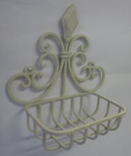 Cream Metal Soap Dish To Wall Mount In Rustic French Provincial Country Style