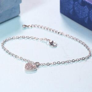 Women Lovely Heart Shaped Crystal Pendant Bracelet Silver Toned Chain Jewelry LA