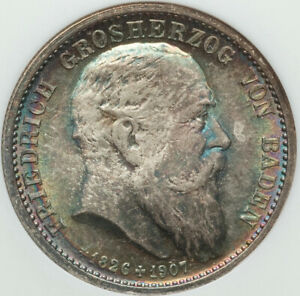 1907 NGC Certified MS66 German State of Baden 2 Silver Marks RAINBOW BLUE TONING