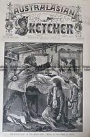 Antique Print 236-062 Destruction of Kelly Gang - Scene at wake at Greta c.1880