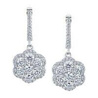 Sterling Silver Family Cluster Flower Dangle Drop Earrings with Cubic Zirconias
