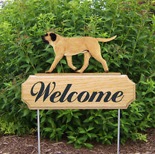Mastiff Dog Breed Oak Wood Welcome Outdoor Yard Sign Fawn